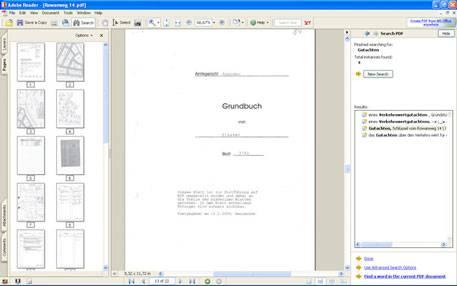Textsuche in einer PDF-Datei, hier zum Beispiel in einem Grundbuch.