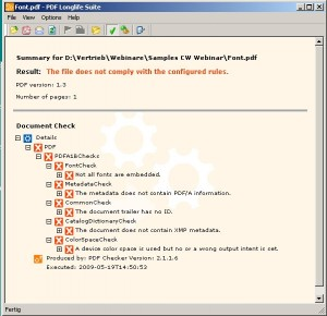PDF Checker checks that the standard is met – PDF Adjust adjusts the document to PDF/A.