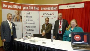 PDF Association booth staff at LegalTech NY 2012 included Matt Stalder, DocsCorp; Bill Lipner, DocsCorp; Thomas Zellmann, Luratech; and Virginia Gavin, Appligent Document Solutions.