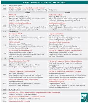 Screenshot of PDF Day program.