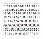 Binary code with a question-mark.