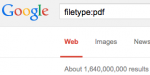 "Google filetype search for ""PDF"". 1,640,000,000 hits."