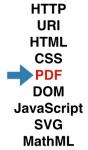 "HTTP, URI, HTML, CSS, PDF, DOM, JavaScript, SVG, MathML. ""PDF"" is highlighted."