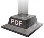 """A concrete base branded """"PDF""""."""