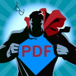 "Iconic superman with ""PDF"" on his shirt."