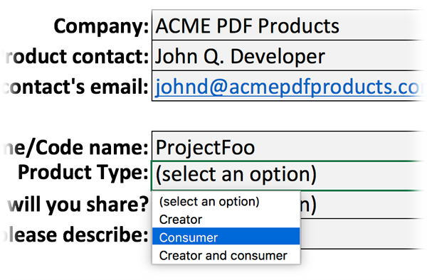 Screen-shot of Excel file with product type dropdown selected.