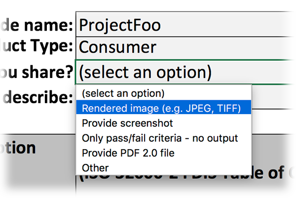 Screen-shot of Excel file with test-outcome reporting dropdown highlighted.