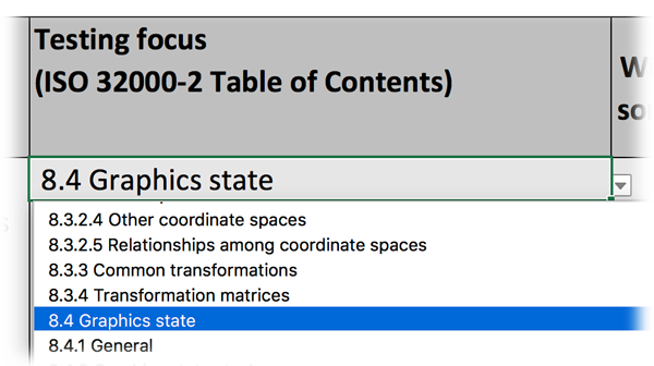 Screen-shot of Excel file showing an example of a test-focus.